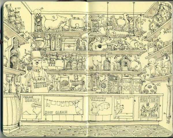 Mattias Aldofsson's fountain pen moleskin drawings